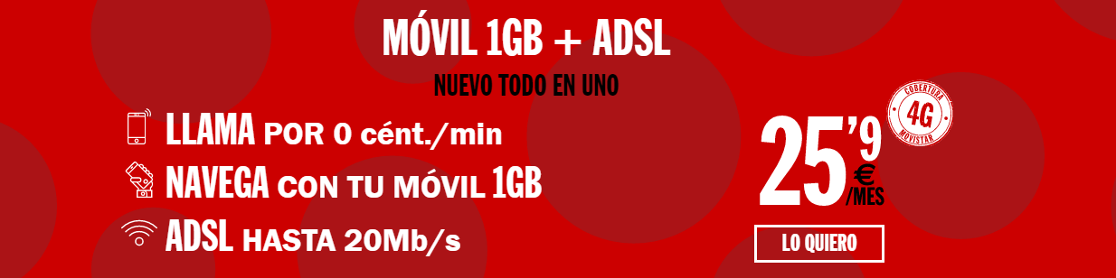 ADSL sin fijo de Pepephone con 1 liena móvil y 1GB por 25,90 al mes