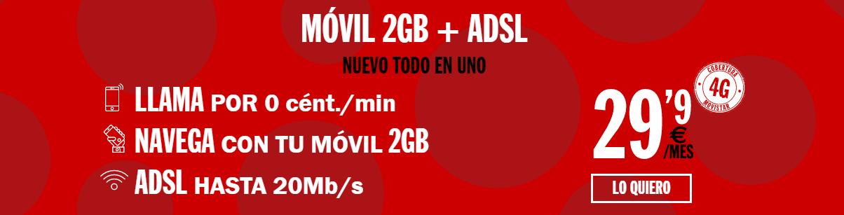 ADSL sin fijo y 2 GB de datos en el móvil con Pepephone