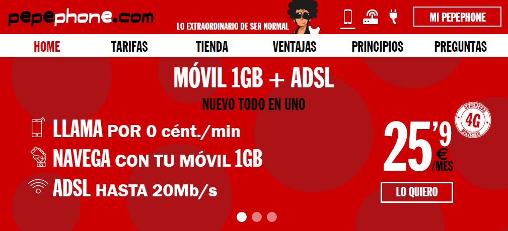 ADSL sin fijo y móvil con 1GB o 2 GB en Pepephone