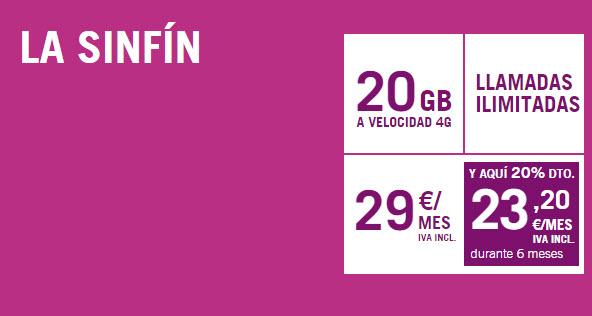 La tarifa SinFín de Yoigo en promoción con 20 en vez de 8 GB