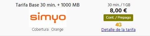 Tarifa Prepago Simyocon 1 GB y 30 minutos