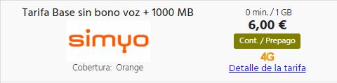 Tarifa prepago simyo 1 GB