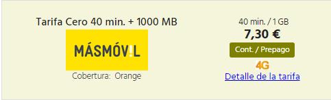Tarifa Prepago MasMovil con 1 GB y 40 minutos