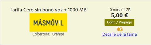 Tarifa prepago MasMovil 1 GB