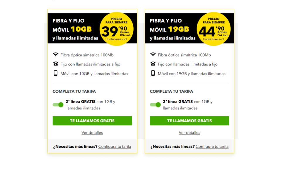 Ofertas de fibra MasMovil con velocidades simétricas de 100 y 600 Mbps.