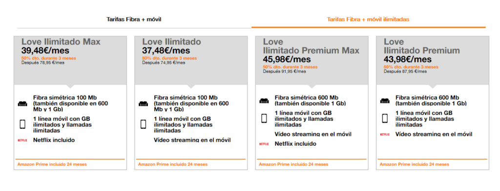 Tarifas ilimitadas Love de Orange