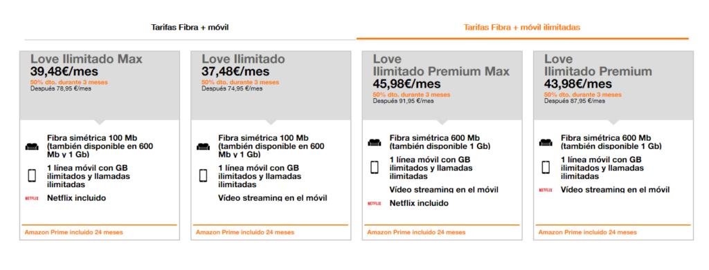 Tarifas ilimitadas Love de Orange
